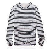 T-shirt à rayures imprimé à 100% à manches longues 100% linéaire