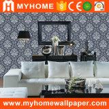 Papier peint profondément gravé en relief de damassé de vinyle de PVC de matériau de construction floral