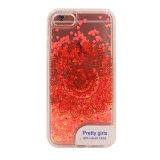 Cas liquide de téléphone mobile du sable mouvant TPU de coeur de configuration de fleurs de guindineau de clavette avec la lumière instantanée multicolore (XSDD-064)