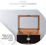 Humidor de madera del barniz conveniente retro de lujo de la PU