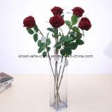 Single&Long 아름다운 줄기 실크 로즈 인공 꽃 가짜 로즈 꽃