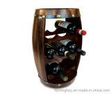 Estante decorativo del soporte del vino de la exhibición del almacenaje de la forma del barril de madera