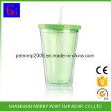 copo plástico da parede 400ml dobro com o copo do gelo da inserção da palha