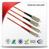 LC Om3 50/125um 물 색깔을%s 가진 이중 광섬유 접속 코드