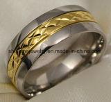 De gouden Zilveren Ringen van het Roestvrij staal van het Titanium van het Wolfram (TR1828)