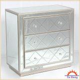 grande gabinete de armazenamento do espelho 3-Drawer com frame da madeira de Champagne