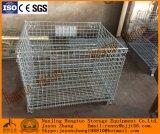 El plegable y jaula amontonable del almacenaje del acoplamiento de alambre de acero con los echadores