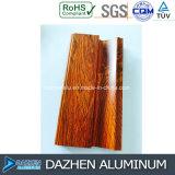 Talla modificada para requisitos particulares grano de madera de aluminio del color de la cabina de los muebles del perfil del aluminio 6063