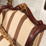 旧式な居間のソファホームのための木製フレームが付いているアメリカファブリックソファー及び椅子