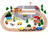 Brinquedo ajustado do trem de madeira quente do presente 92PCS do Natal para miúdos e crianças