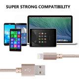 Câble de caractéristiques tressé en nylon à grande vitesse de chargeur et de transfert USB pour l'iPhone 5/6/7