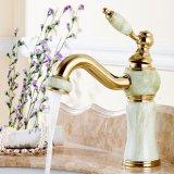 Faucet de bronze da bacia do banheiro da pintura do jade de Flg com único furo