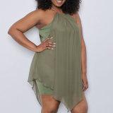 Form-Frauen-Freizeit-dünne Chiffon- Fälschung zwei Stücke Kleidung-Blusen-