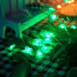 A corda do diodo emissor de luz ilumina luz feericamente de cobre a pilhas decorativa de Bling da árvore de Natal de 20 diodos emissores de luz a micro para a decoração Home do feriado
