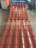 La feuille colorée de toiture en métal d'Aluzinc/a enduit la tuile d'une première couche de peinture de toit en acier galvanisée