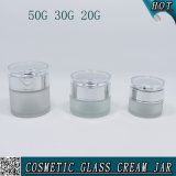 vetro del vaso delle estetiche glassato cilindro di 50g 30g 20g con il coperchio acrilico