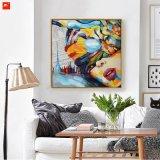 Pintura al óleo moderna de la decoración de la muchacha hermosa