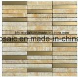 Natural mosaico de mármol de jade mezclado azulejo de mosaico de acero inoxidable (fysm013)