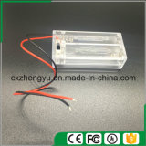 2AA Clear Battery Holder con cables de cable rojo / negro, cubierta e interruptor