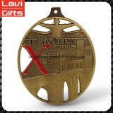 금속 오래된 금 리본을%s 가진 타원형 포상 스포츠 메달