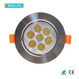 Cer RoHS 7W spiegelndes silbernes Dimmable warmes Weiß LED Downlight