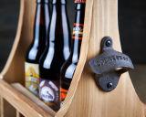 Transporteur en bois antique de bière terminé par logo fait sur commande pour 6 paquets