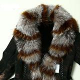Fourrure de Fox de type du cuir véritable et du manteau de fourrure de 2016 Madames neuves de modèle longue