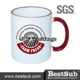 Tasse de traitement de RIM des tasses 11oz de sublimation d'enduits de Js - B11baa-10 marron