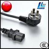 Plugue do cabo de potência de três pinos com o conetor com o certificado do CCC aprovado (10A, 250V)