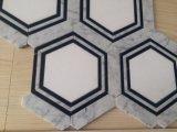 Carrara 백색과 Nero Marquina Waterjet 모자이크 타일을%s 가진 육각형 수정같은 백색