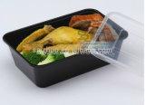Casella di pranzo di plastica a gettare del contenitore di alimento del singolo scompartimento nero (SZ-L-750)