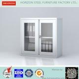 Aço de balanço dobro - gabinete de armazenamento de vidro quadro das portas