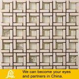ベージュ色の壁のための正方形の石造りの組合せのモザイク