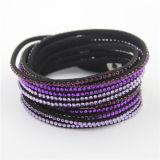 Braceletes feitos sob encomenda de cristal do couro do bracelete da forma das vendas por atacado