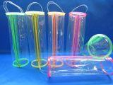 Sac fait sur commande recyclable de tirette de cylindre de PVC d'impression d'OEM