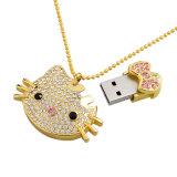 Bastone di memoria dell'azionamento della penna del regalo di promozione del gattino del USB di Jewellry ciao