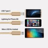 Cable micro del USB del cargador in-1 del nilón 3 para el Tipo-c del iPhone de Samsung