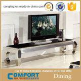 Mobilia moderna del basamento della parte superiore TV del marmo della base dell'acciaio inossidabile