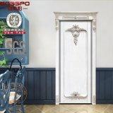Decorazioni di legno esterne anteriori bianche del portello intagliate mano (GSP2-079)