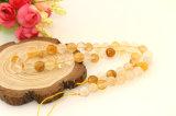 노란 광석 석영 둥근 느슨한 구슬 크기 6-12mm 자연적인 중국 수정같은 구슬은 도매한다
