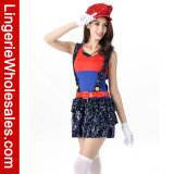 Mario 구획 여자를 위한 뛰어오르는 배관공 Cosplay 복장을 눈을 부시게 하는 Halloween 당