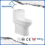 Um toalete cerâmico nivelado duplo da parte no branco (ACT7004)