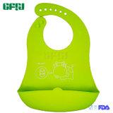 FDAのキャッチャーが付いている公認の物質的なPackagableの赤ん坊の製品のシリコーンの胸当て