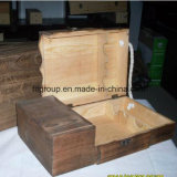 Celebrando palabra ahuecar 2014 cajas de madera de desplazamiento del vino del pino de la tapa