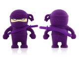 Os desenhos animados por atacado do USB de Ninja dos desenhos animados do silicone mascararam a movimentação que do flash do USB dos homens a personalidade creativa é disco impermeável de U no ponto