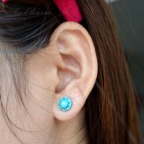 Brincos bonitos redondos do Rhinestone acrílico azul dos brincos do parafuso prisioneiro da jóia da forma