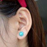 Boucles d'oreille neuves de goujon de mode d'Ol de tempérament pour les boucles d'oreille mignonnes rondes de Rhinestone acrylique bleu de femmes pour des femmes