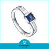 Sapphire 925 Anillo de plata de ley de lujo de marca mujer (R-0271)