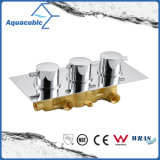 Do cromo redondo do desviador da maneira do bronze 3 do banheiro válvula termostática do misturador do chuveiro