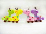 귀여운 파란 견면 벨벳 지라프 아이를 위한 연약한 장난감 박제 동물 장난감